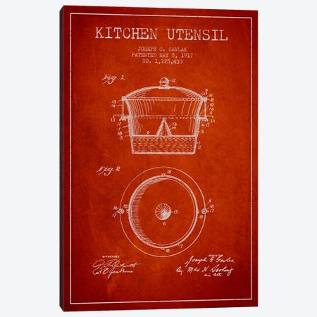 Kitchen Utensil Red Patent Blueprint Canvas Print #ADP822} by Aged Pixel Canvas Print
