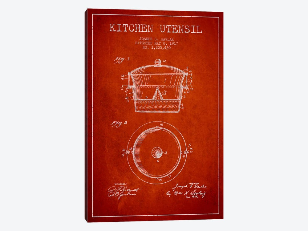 Kitchen Utensil Red Patent Blueprint by Aged Pixel 1-piece Canvas Artwork