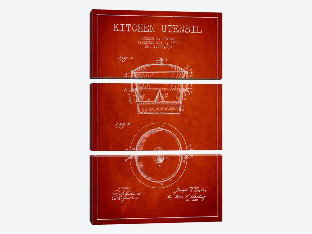 Kitchen Utensil Red Patent Blueprint by Aged Pixel 3-piece Canvas Artwork