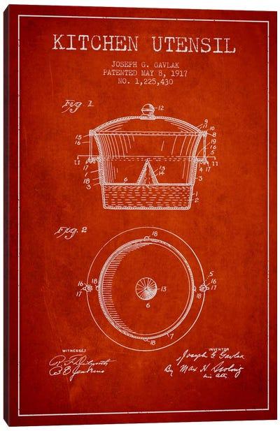 Kitchen Utensil Red Patent Blueprint Canvas Art Print