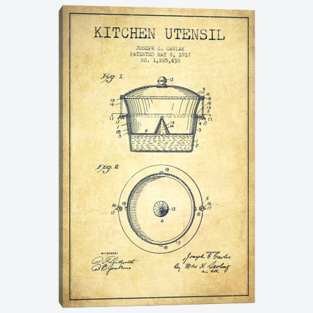 Kitchen Utensil Vintage Patent Blueprint Canvas Print #ADP823} by Aged Pixel Canvas Print