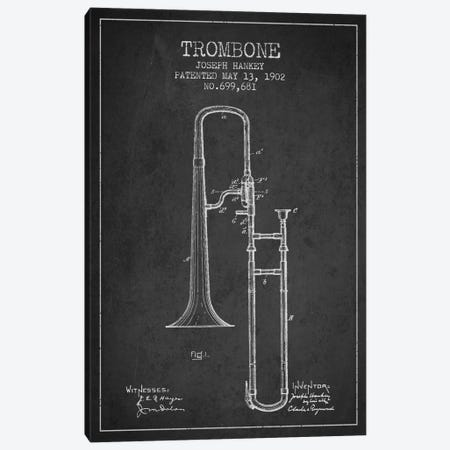 Trombone Charcoal Patent Blueprint Canvas Print #ADP824} by Aged Pixel Canvas Wall Art