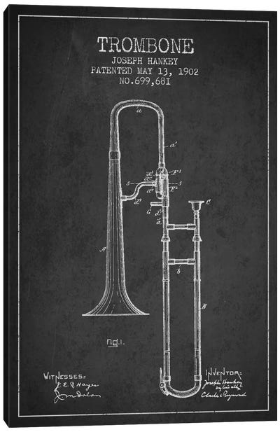Trombone Charcoal Patent Blueprint Canvas Print #ADP824