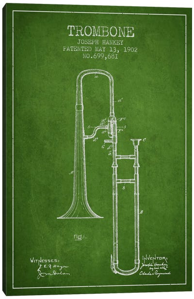 Trombone Green Patent Blueprint Canvas Art Print