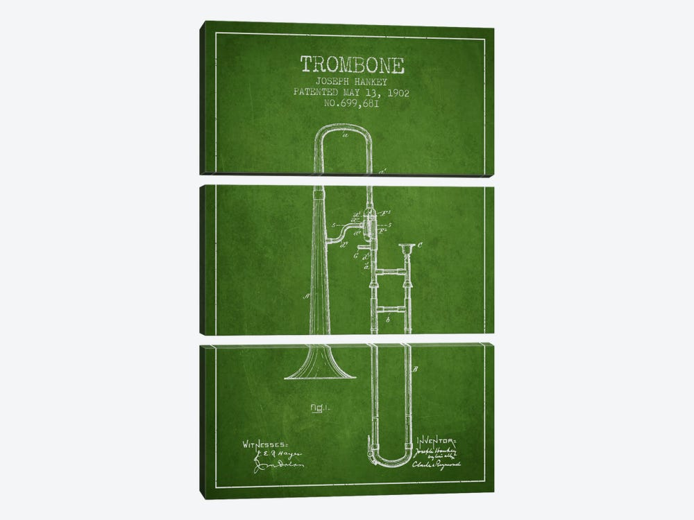 Trombone Green Patent Blueprint by Aged Pixel 3-piece Canvas Print