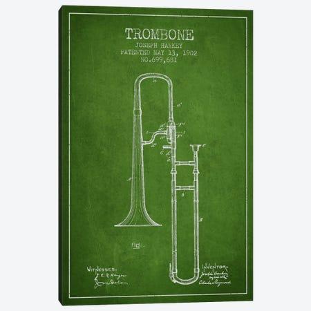Trombone Green Patent Blueprint Canvas Print #ADP825} by Aged Pixel Canvas Art