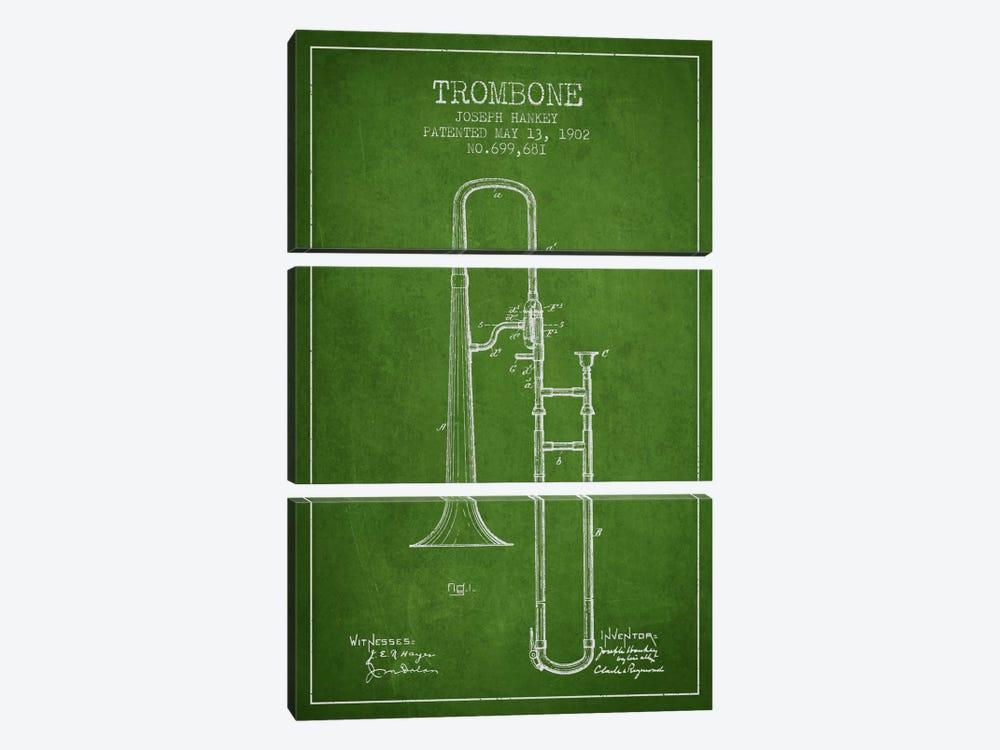 Trombone Green Patent Blueprint by Aged Pixel 3-piece Canvas Print