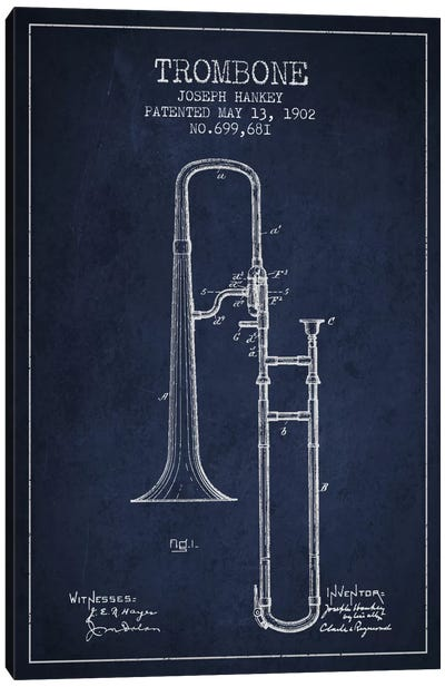 Trombone Navy Blue Patent Blueprint Canvas Print #ADP826