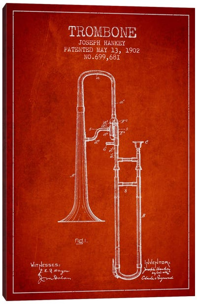 Trombone Red Patent Blueprint Canvas Print #ADP827