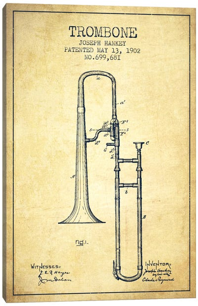 Trombone Vintage Patent Blueprint Canvas Art Print