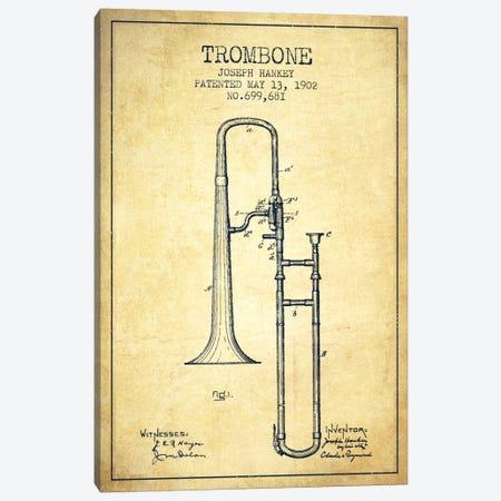 Trombone Vintage Patent Blueprint Canvas Print #ADP828} by Aged Pixel Canvas Art Print
