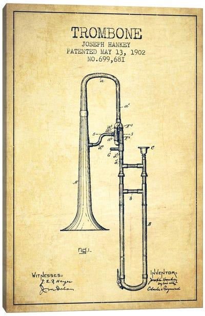 Trombone Vintage Patent Blueprint Canvas Art Print