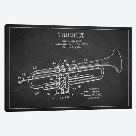 Trumpet Charcoal Patent Blueprint Canvas Print #ADP829} by Aged Pixel Canvas Print