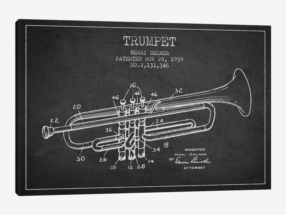 Trumpet Charcoal Patent Blueprint by Aged Pixel 1-piece Canvas Art Print
