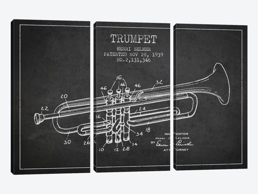Trumpet Charcoal Patent Blueprint by Aged Pixel 3-piece Canvas Print