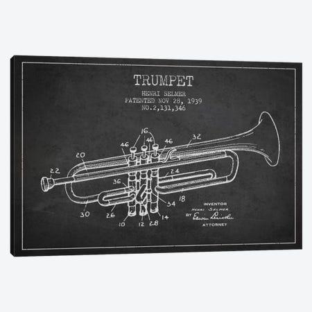 Trumpet Charcoal Patent Blueprint Canvas Print #ADP829} by Aged Pixel Canvas Print