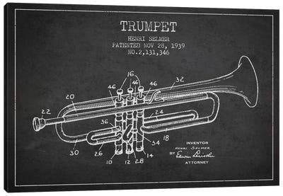 Trumpet Charcoal Patent Blueprint Canvas Art Print