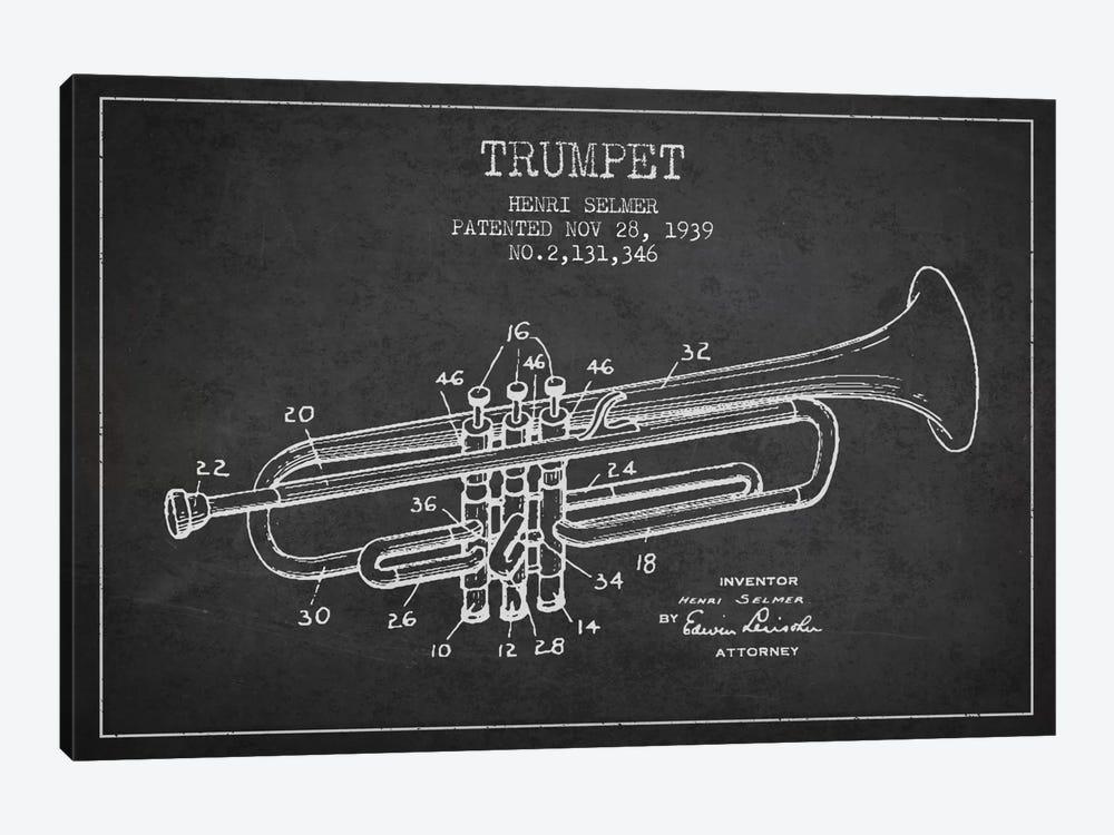 Trumpet Charcoal Patent Blueprint by Aged Pixel 1-piece Canvas Art Print