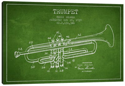 Trumpet Green Patent Blueprint Canvas Print #ADP830