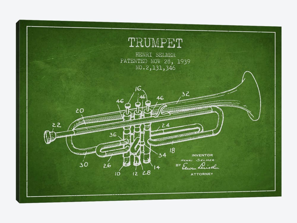 Trumpet Green Patent Blueprint by Aged Pixel 1-piece Canvas Art Print