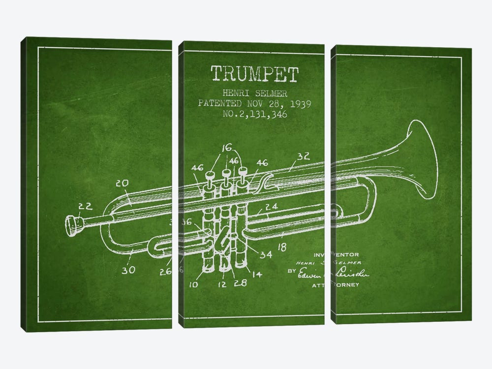 Trumpet Green Patent Blueprint by Aged Pixel 3-piece Canvas Print