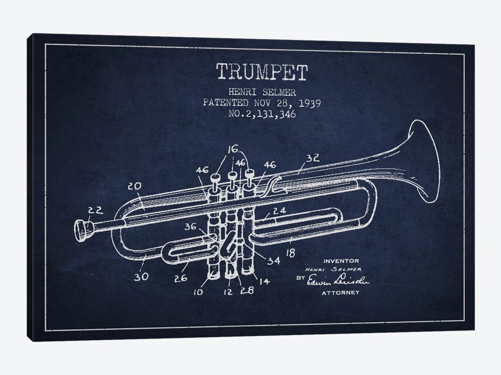 Trumpet Navy Blue Patent Blueprint by Aged Pixel 1-piece Canvas Art