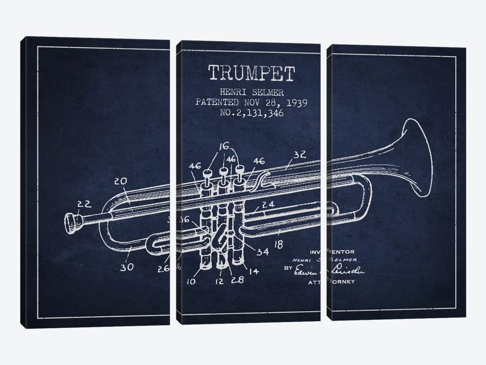 Trumpet Navy Blue Patent Blueprint by Aged Pixel 3-piece Canvas Wall Art