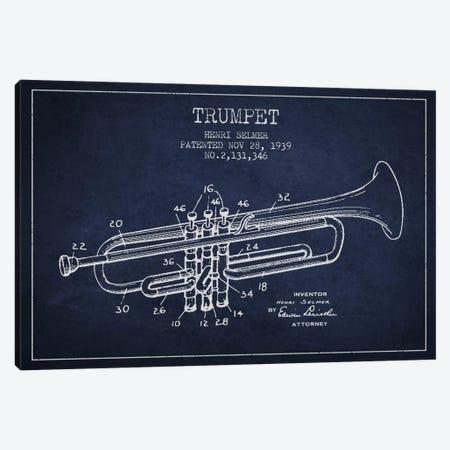 Trumpet Navy Blue Patent Blueprint Canvas Print #ADP831} by Aged Pixel Canvas Artwork