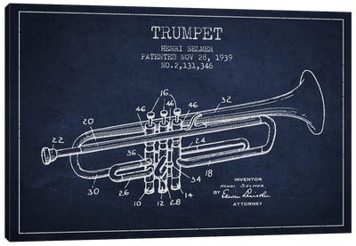 Trumpet Navy Blue Patent Blueprint Canvas Art Print