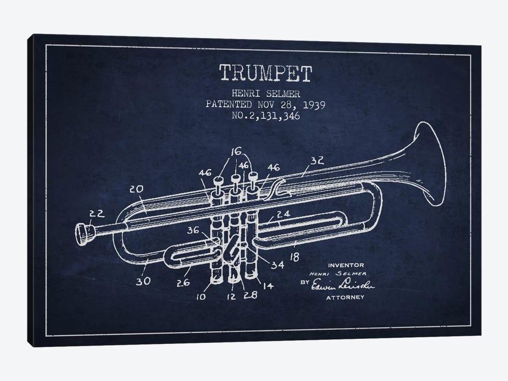 Trumpet Navy Blue Patent Blueprint by Aged Pixel 1-piece Canvas Art
