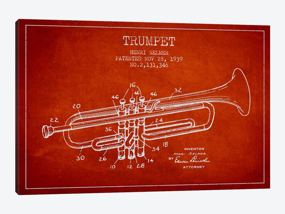 Trumpet Red Patent Blueprint by Aged Pixel 1-piece Art Print