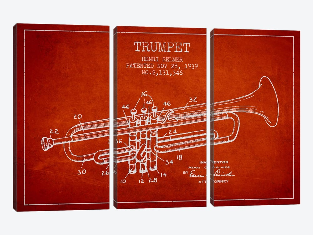 Trumpet Red Patent Blueprint by Aged Pixel 3-piece Canvas Art Print