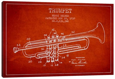 Trumpet Red Patent Blueprint Canvas Art Print