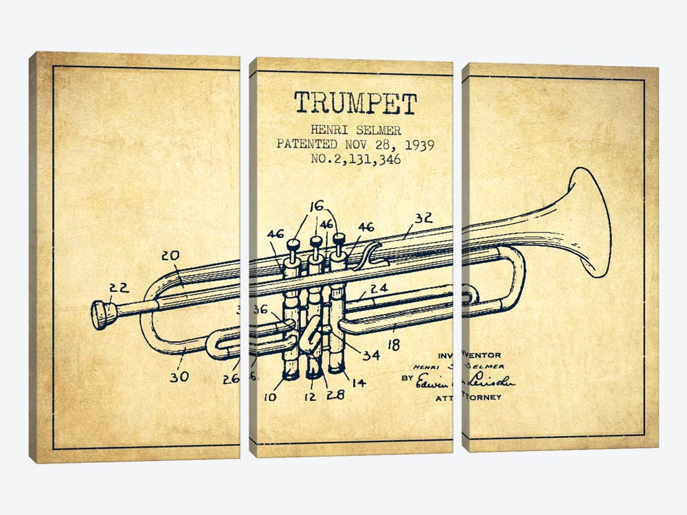 Trumpet Vintage Patent Blueprint by Aged Pixel 3-piece Canvas Wall Art