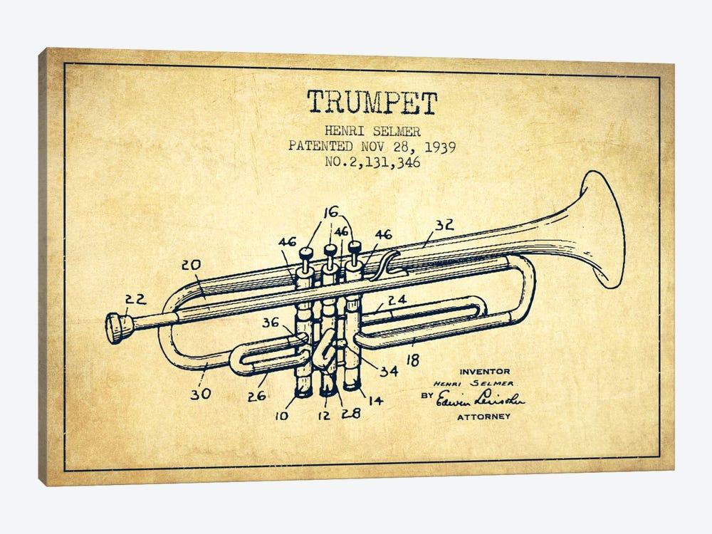 Trumpet Vintage Patent Blueprint by Aged Pixel 1-piece Canvas Artwork