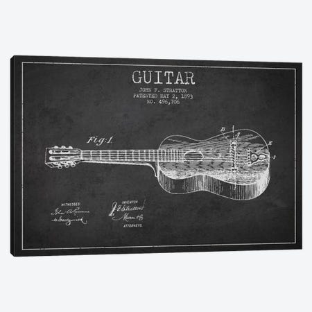 Guitar Charcoal Patent Blueprint Canvas Print #ADP834} by Aged Pixel Canvas Print