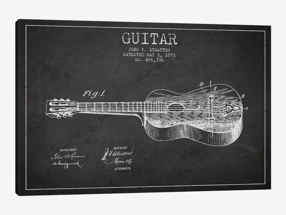 Guitar Charcoal Patent Blueprint by Aged Pixel 1-piece Canvas Print