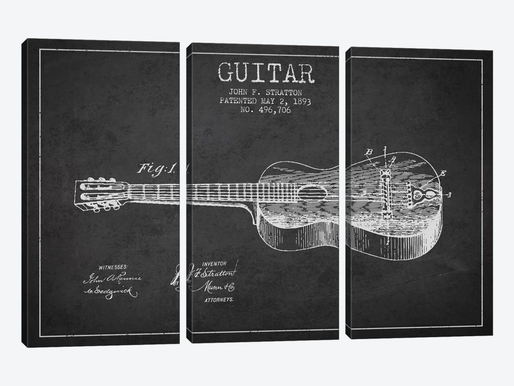 Guitar Charcoal Patent Blueprint by Aged Pixel 3-piece Canvas Print