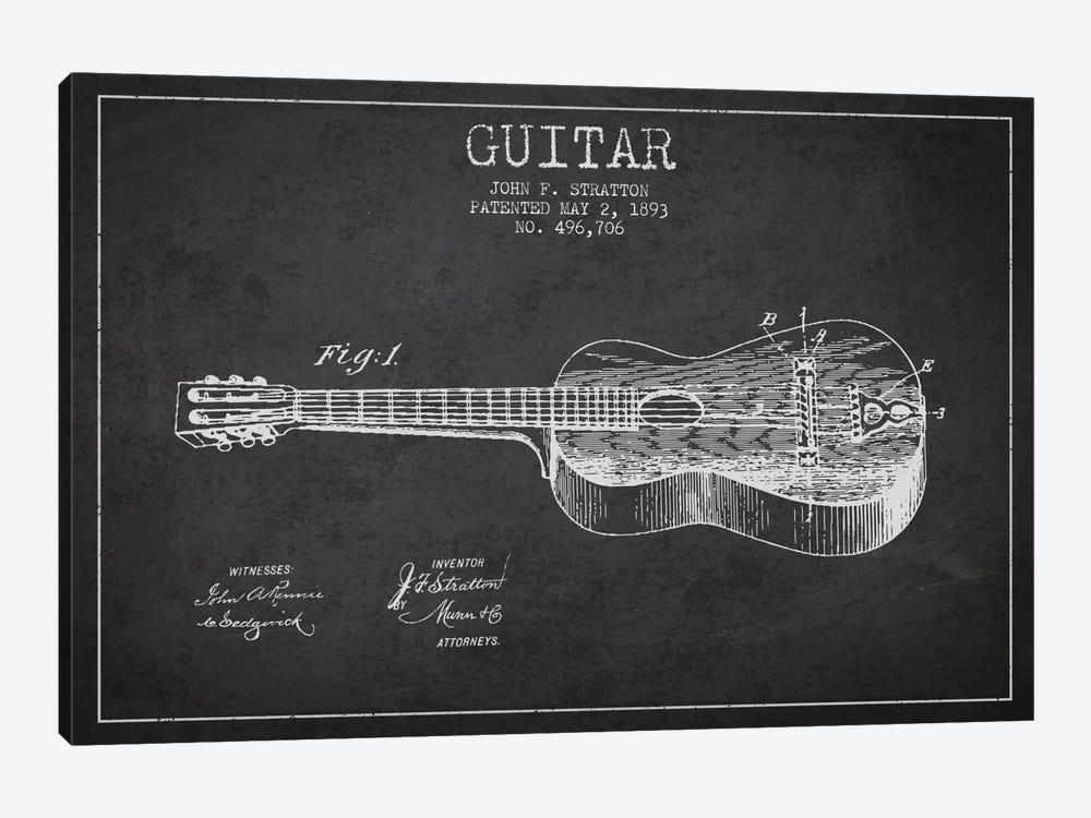 Guitar Charcoal Patent Blueprint by Aged Pixel 1-piece Canvas Print