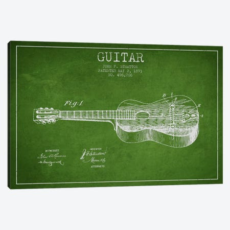 Guitar Green Patent Blueprint Canvas Print #ADP835} by Aged Pixel Art Print