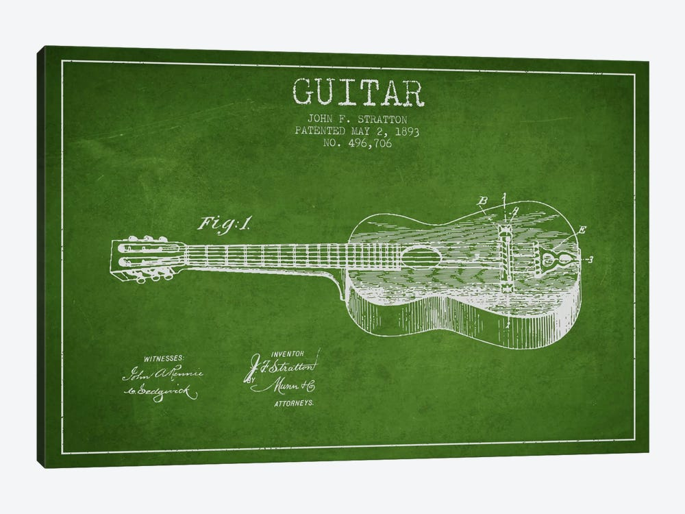 Guitar Green Patent Blueprint by Aged Pixel 1-piece Canvas Artwork