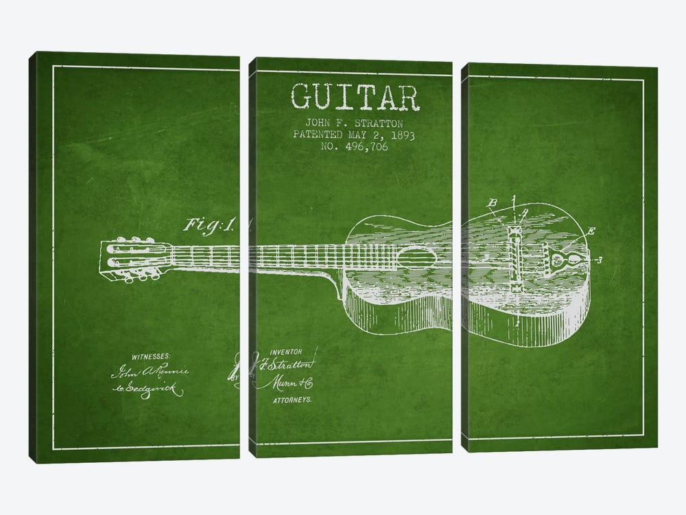 Guitar Green Patent Blueprint 3-piece Canvas Art