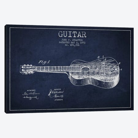 Guitar Navy Blue Patent Blueprint Canvas Print #ADP836} by Aged Pixel Canvas Art Print