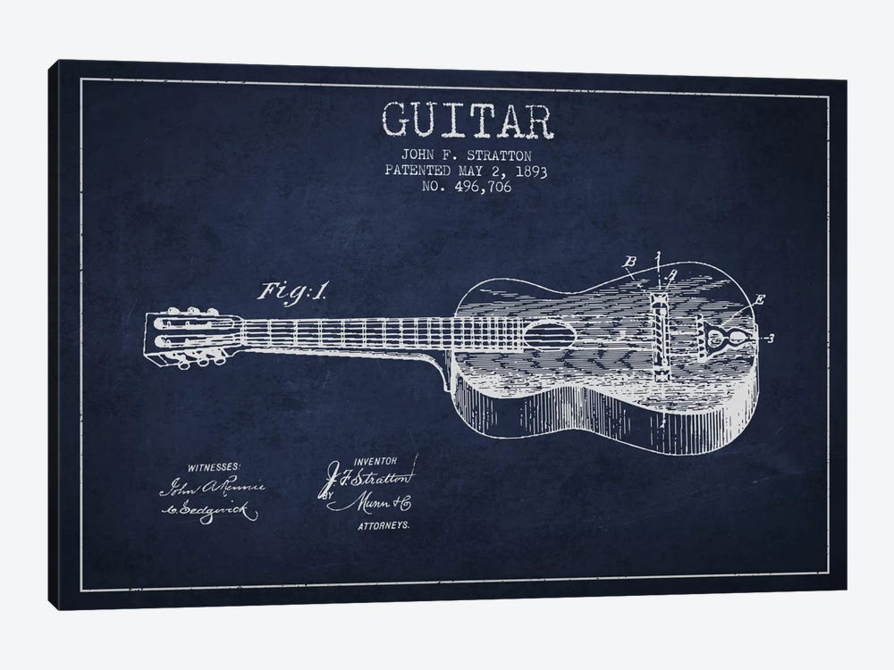 Guitar Navy Blue Patent Blueprint by Aged Pixel 1-piece Art Print