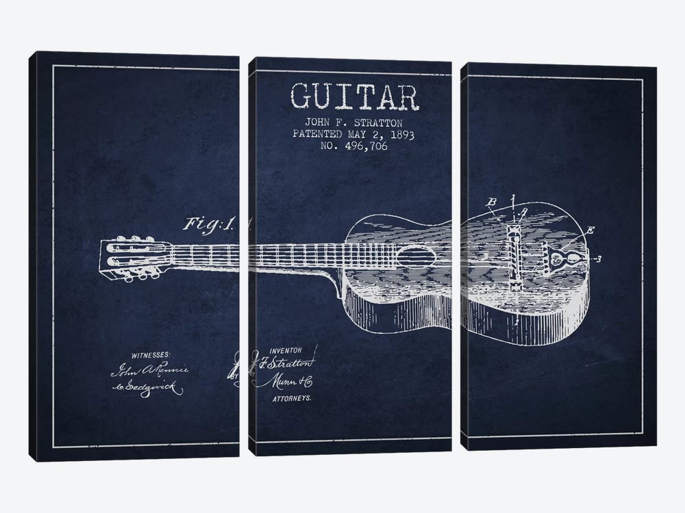 Guitar Navy Blue Patent Blueprint by Aged Pixel 3-piece Canvas Art Print