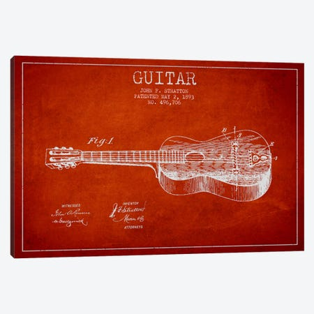Guitar Red Patent Blueprint Canvas Print #ADP837} by Aged Pixel Art Print