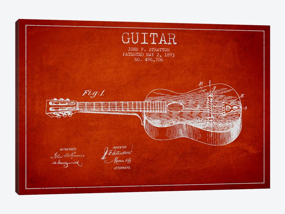 Guitar Red Patent Blueprint by Aged Pixel 1-piece Canvas Art