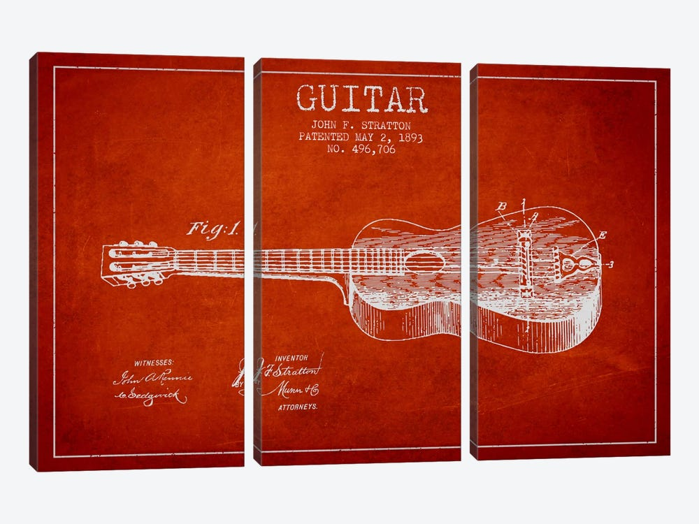 Guitar Red Patent Blueprint by Aged Pixel 3-piece Canvas Art