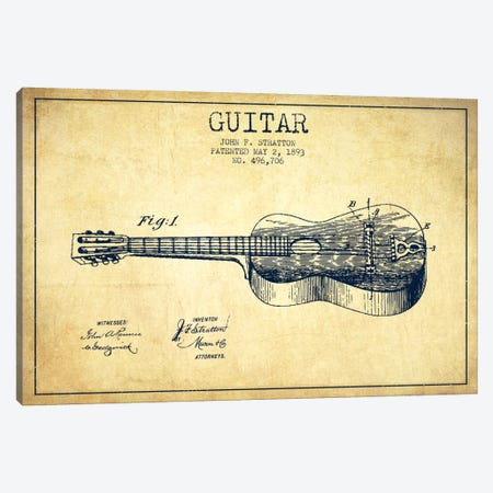 Guitar Vintage Patent Blueprint Canvas Print #ADP838} by Aged Pixel Canvas Art