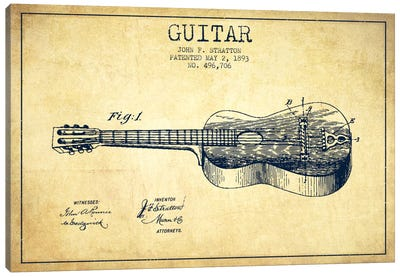 Guitar Vintage Patent Blueprint Canvas Print #ADP838